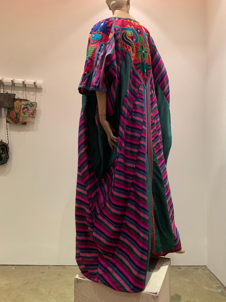 Torso Creations Caftan Of Mexican Embroidered Cotton & Striped Thai Silk For Sale 5