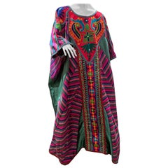 Torso Creations Caftan Of Mexican Embroidered Cotton & Striped Thai Silk