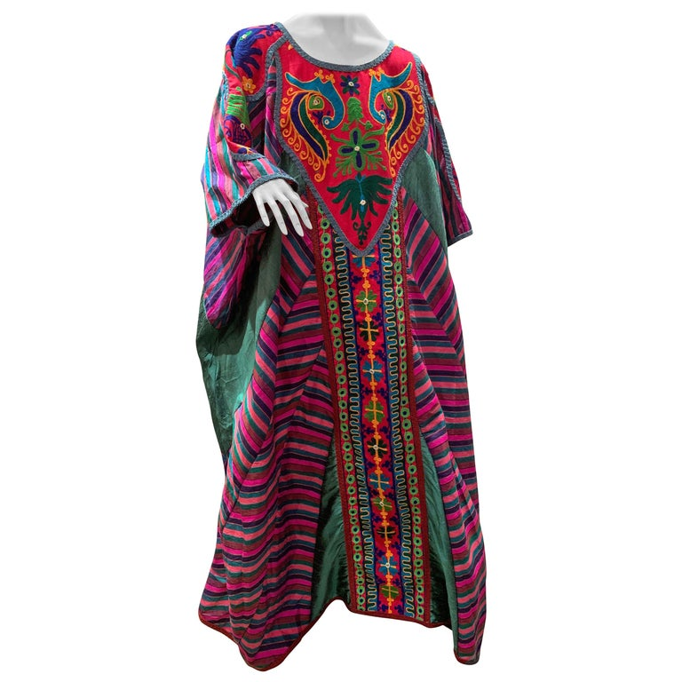 Torso Creations Caftan Of Mexican Embroidered Cotton & Striped Thai Silk For Sale