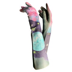 "Torso Creations ""Celestial Hippie"" Airbrushed Vintage Steel Blue Leather Gloves"
