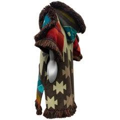 Torso Creations Ecuadorian Woven Blanket Double Zip Hooded Jacket W/ Fringe Trim