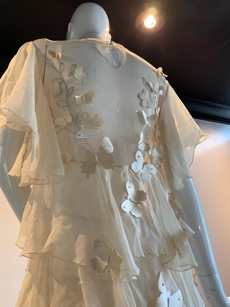 Torso Creations Eggshell Silk Chiffon Ruffled Wedding Gown W/ Silk Butterflies For Sale 5