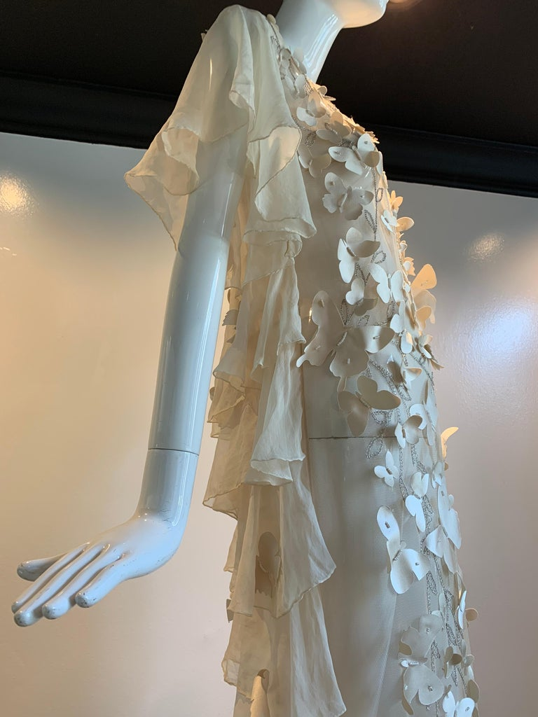 Torso Creations Eggshell Silk Chiffon Ruffled Wedding Gown W/ Silk Butterflies For Sale 6