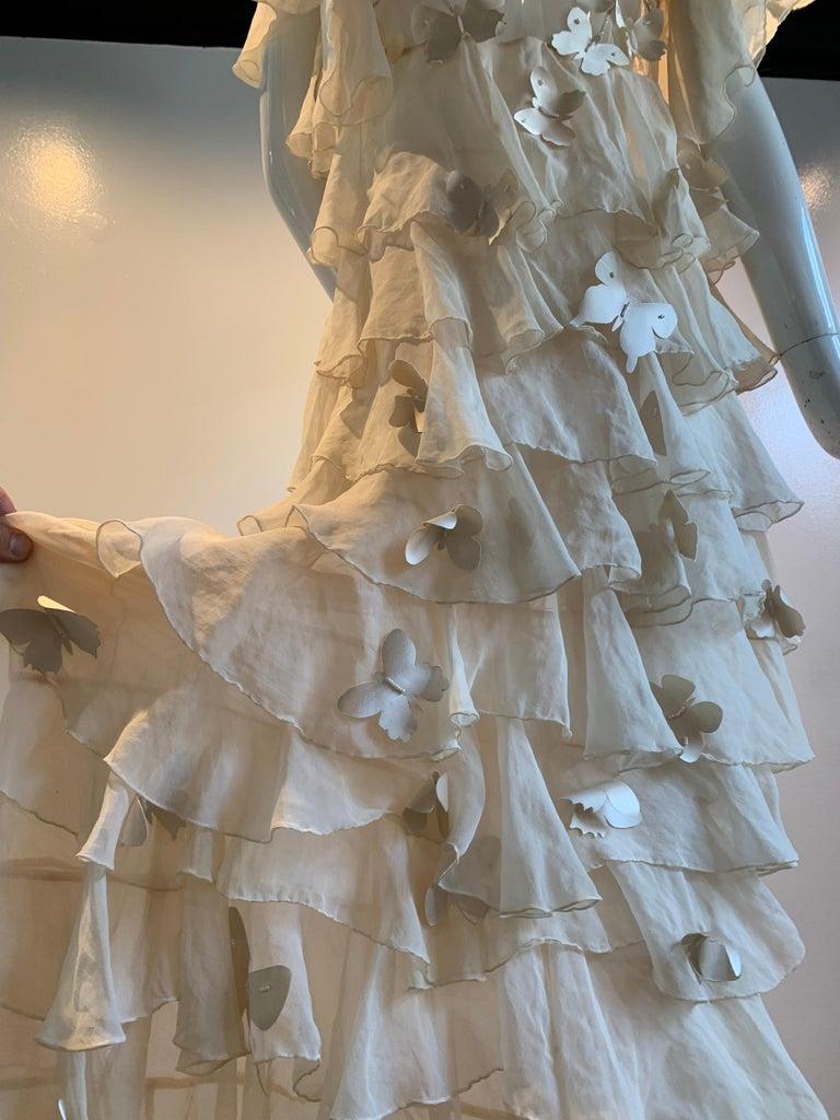 Torso Creations Eggshell Silk Chiffon Ruffled Wedding Gown W/ Silk Butterflies For Sale 7
