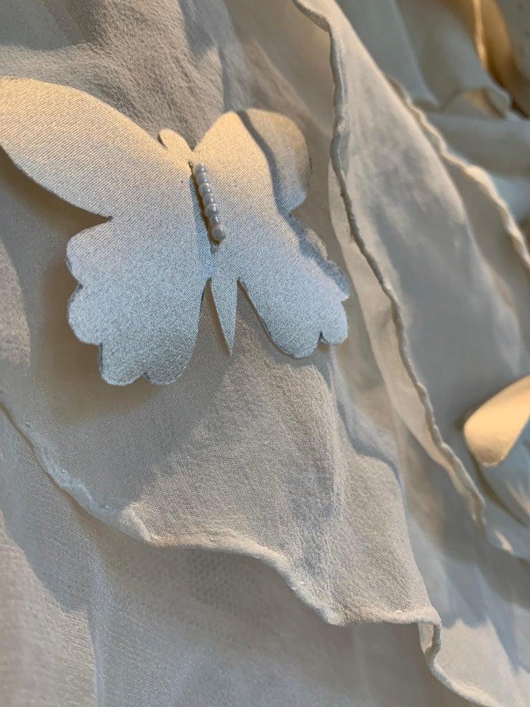 Torso Creations Eggshell Silk Chiffon Ruffled Wedding Gown W/ Silk Butterflies For Sale 10