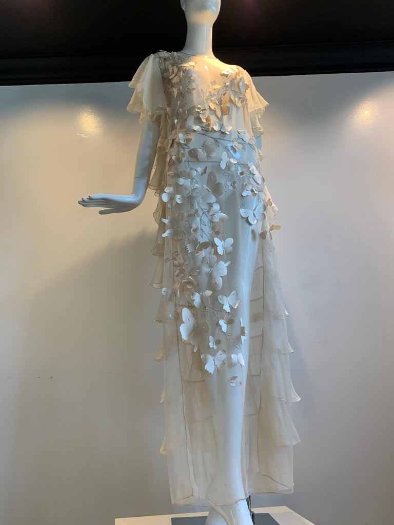 Gray Torso Creations Eggshell Silk Chiffon Ruffled Wedding Gown W/ Silk Butterflies For Sale