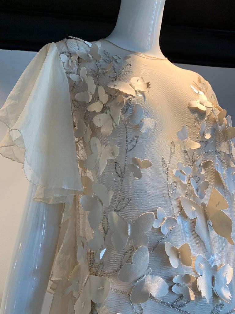 Torso Creations Eggshell Silk Chiffon Ruffled Wedding Gown W/ Silk Butterflies For Sale 1