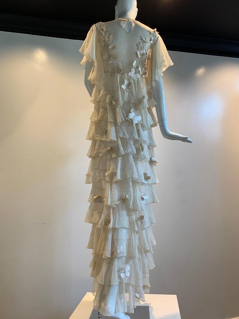 Torso Creations Eggshell Silk Chiffon Ruffled Wedding Gown W/ Silk Butterflies For Sale 3