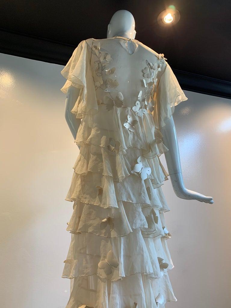 Torso Creations Eggshell Silk Chiffon Ruffled Wedding Gown W/ Silk Butterflies For Sale 4