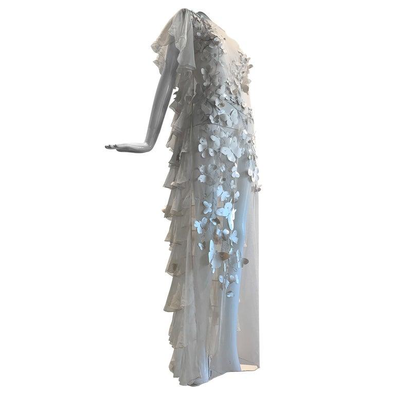Torso Creations Eggshell Silk Chiffon Ruffled Wedding Gown W/ Silk Butterflies For Sale