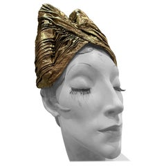 Torso Creations Gold Lame Pleated Peaked Turban