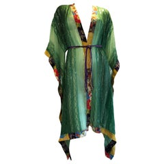 Torso Creations Green Silk Chiffon Kimono-Style Jacket W/ Sequins & Obi Trim