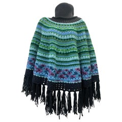 Torso Creations Hand Knit Colorful Poncho W/ Large Funnel Neck & Black Fringe