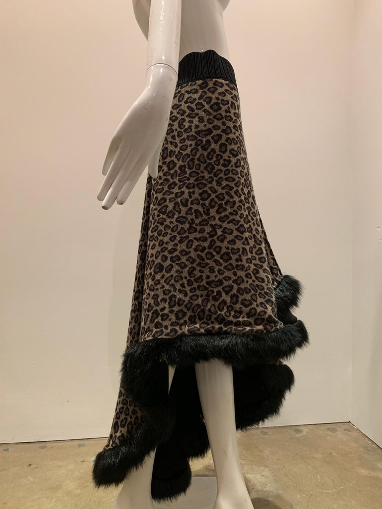 Torso Creations Leopard Knit Hi-Low Skirt W/ Faux Fur Trim For Sale 6