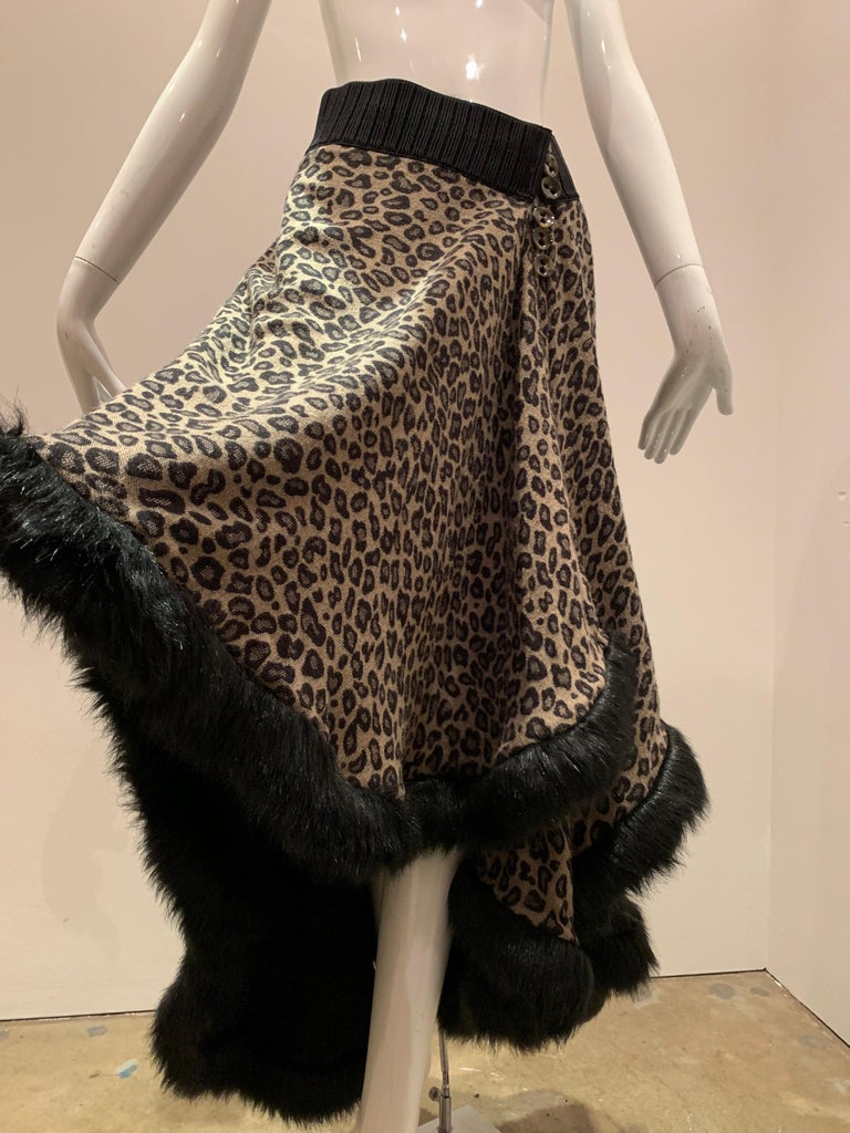 Torso Creations Leopard Knit Hi-Low Skirt W/ Faux Fur Trim For Sale 7