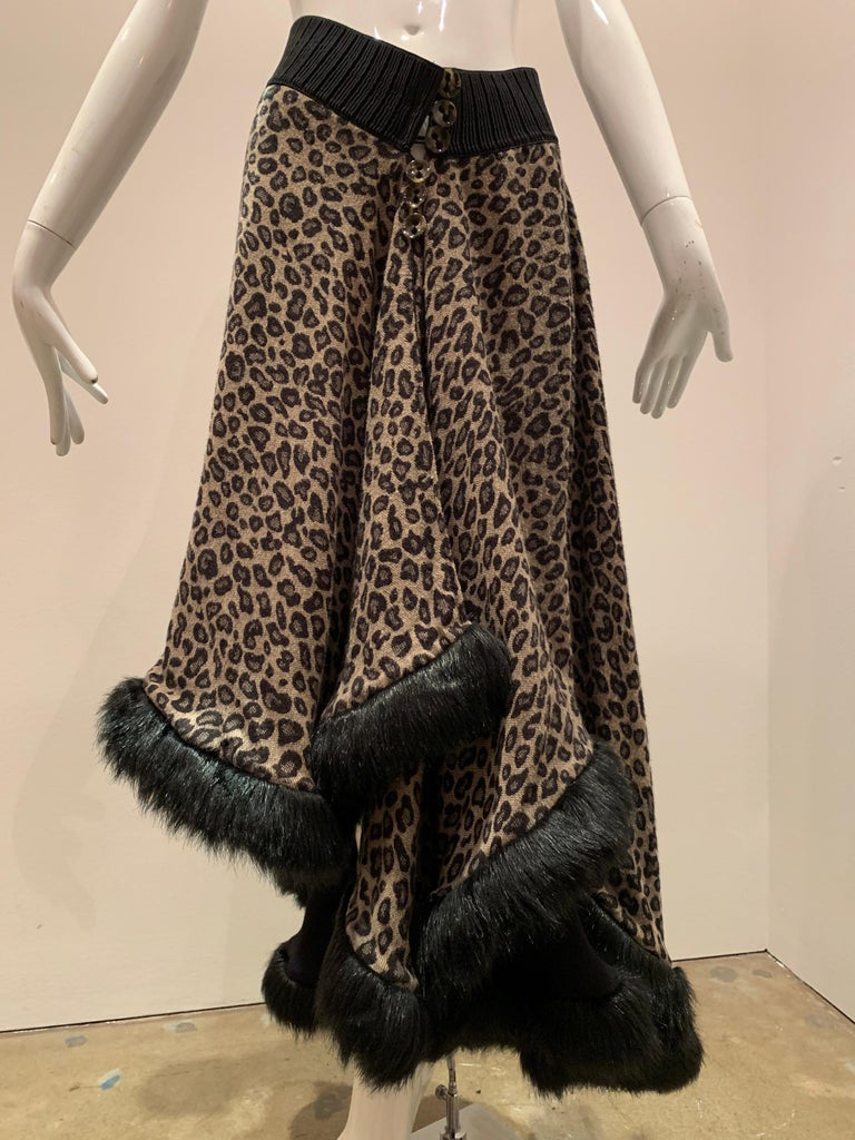 Torso Creations Leopard Knit Hi-Low Skirt W/ Faux Fur Trim For Sale 8