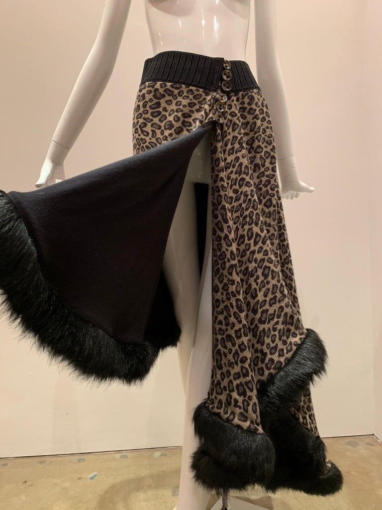 Torso Creations Leopard Knit Hi-Low Skirt W/ Faux Fur Trim For Sale 1