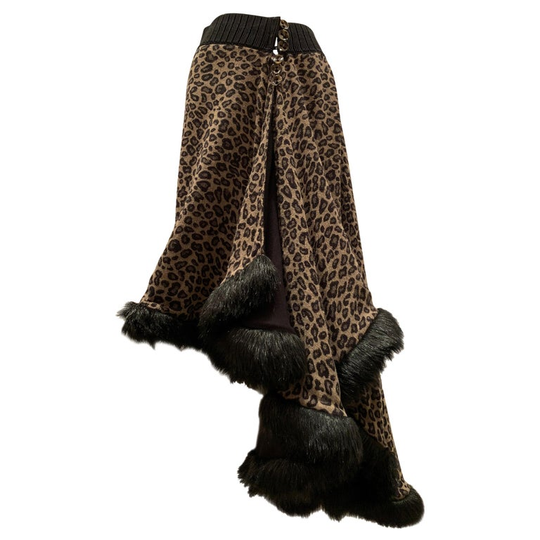 Torso Creations Leopard Knit Hi-Low Skirt W/ Faux Fur Trim For Sale