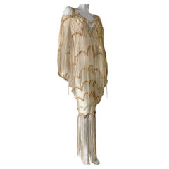 "Torso Creations Macrame Leather Fringe ""Dream Catcher"" W/ Delicate Lace Trim"