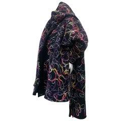 Torso Creations Mixed Media Felted Black Wool Oversized Coat W/ Large Foulard