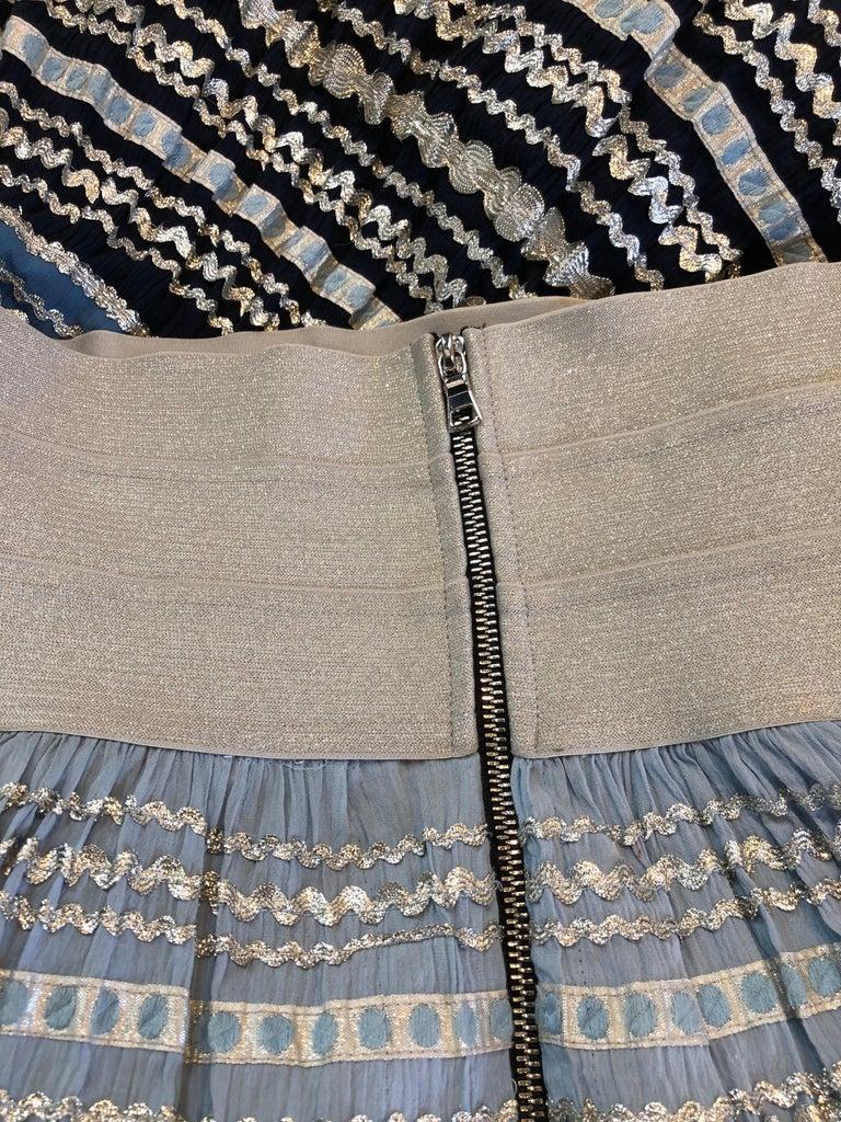 Torso Creations Modified 1950s High Elastic Waist Metallic Braid Circle Skirt For Sale 5