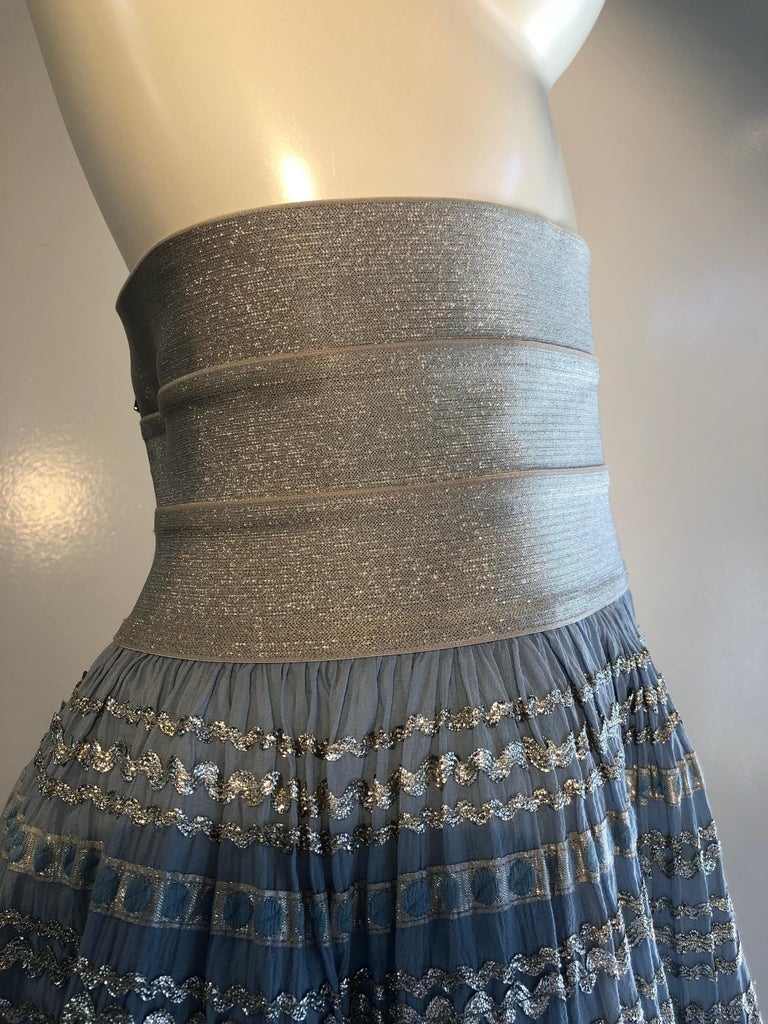 Torso Creations Modified 1950s High Elastic Waist Metallic Braid Circle Skirt For Sale 6