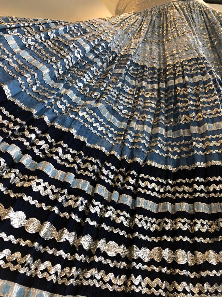 Torso Creations Modified 1950s High Elastic Waist Metallic Braid Circle Skirt For Sale 7