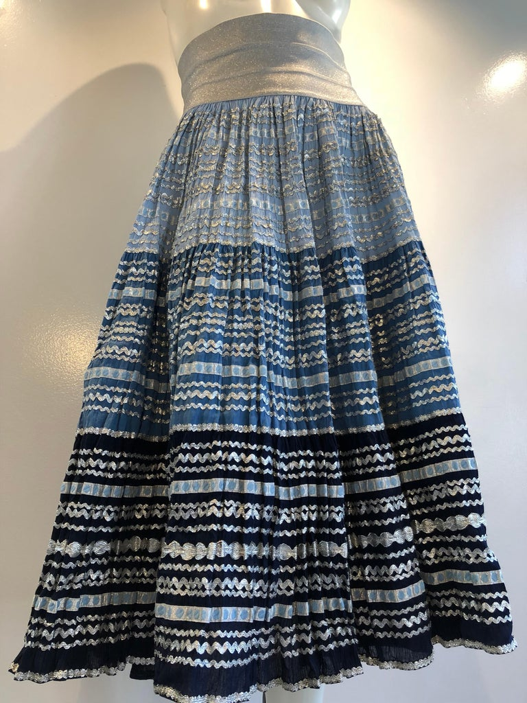 Black Torso Creations Modified 1950s High Elastic Waist Metallic Braid Circle Skirt For Sale