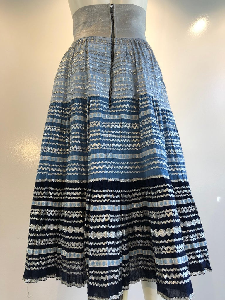 Torso Creations Modified 1950s High Elastic Waist Metallic Braid Circle Skirt For Sale 1