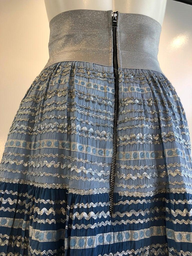 Torso Creations Modified 1950s High Elastic Waist Metallic Braid Circle Skirt For Sale 2
