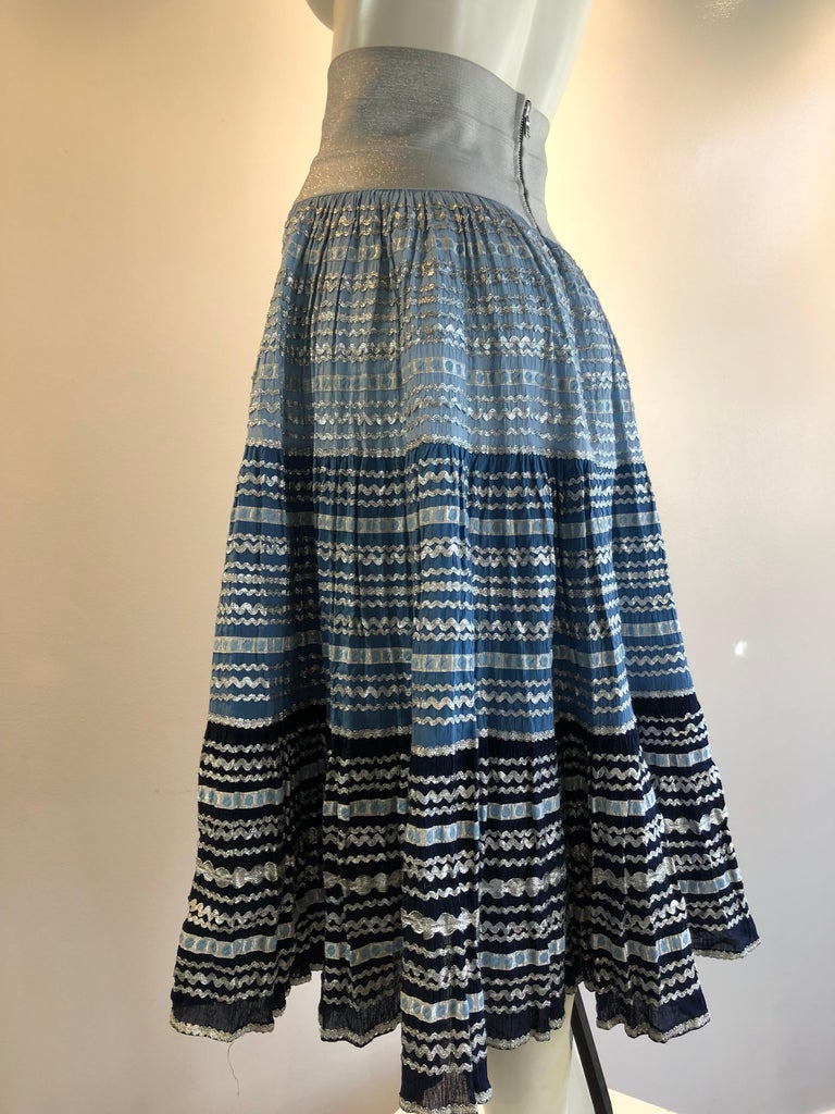 Torso Creations Modified 1950s High Elastic Waist Metallic Braid Circle Skirt For Sale 3