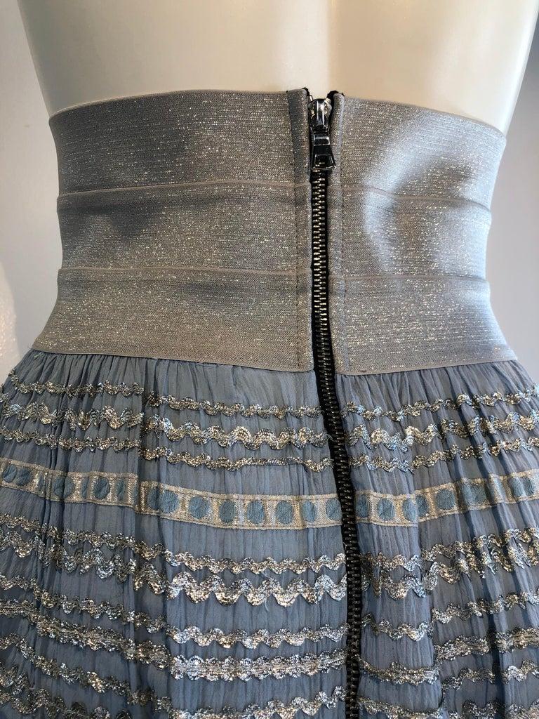 Torso Creations Modified 1950s High Elastic Waist Metallic Braid Circle Skirt For Sale 4