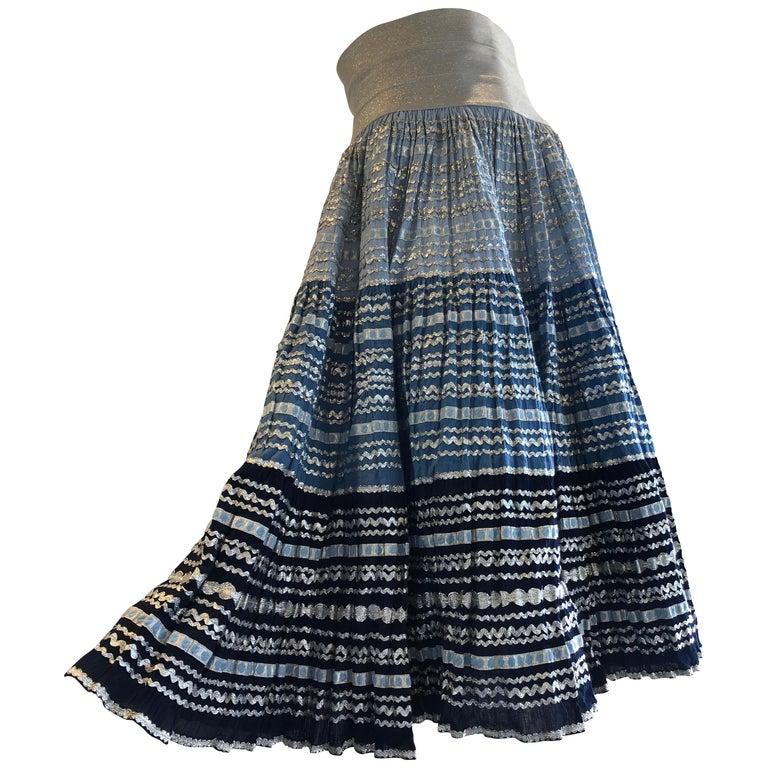 Torso Creations Modified 1950s High Elastic Waist Metallic Braid Circle Skirt For Sale