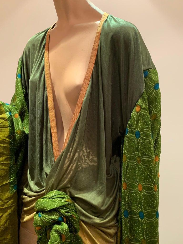 Torso Creations Moss Green Ombré Silk Jersey Mini Robe W/ Voluminous Silk Sleeve For Sale 6