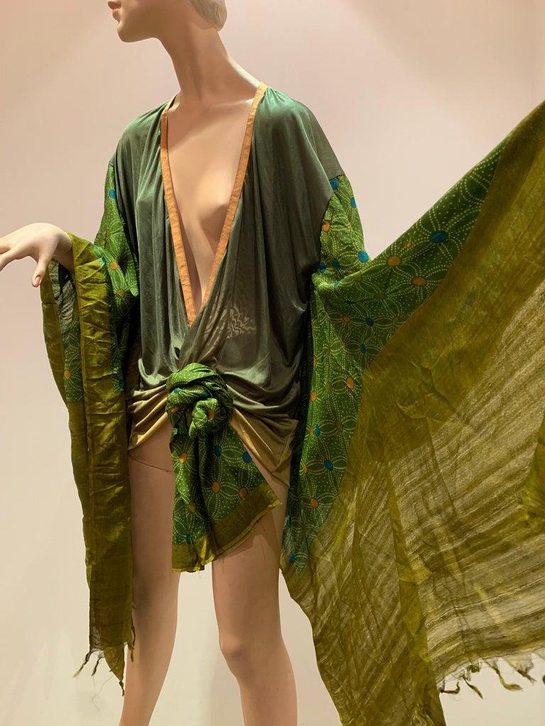 Torso Creations Moss Green Ombré Silk Jersey Mini Robe W/ Voluminous Silk Sleeve For Sale 7
