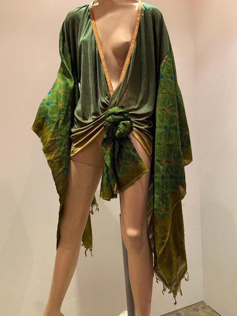 Torso Creations Moss Green Ombré Silk Jersey Mini Robe W/ Voluminous Silk Sleeve For Sale 8