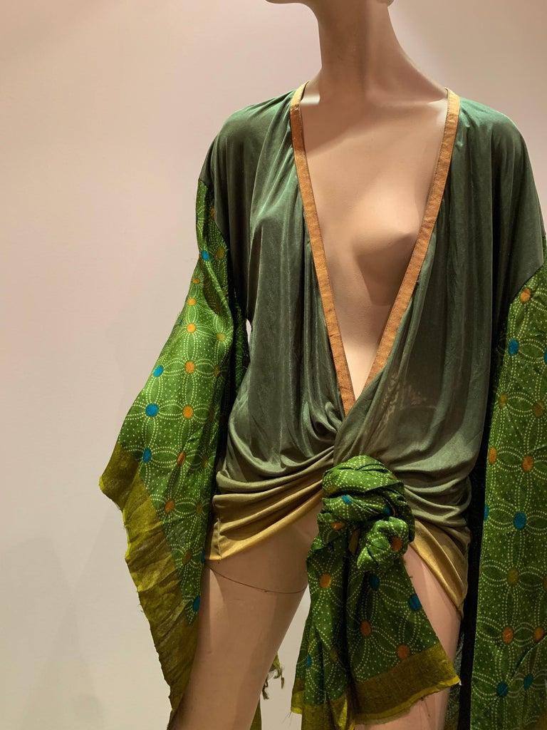 Torso Creations Moss Green Ombré Silk Jersey Mini Robe W/ Voluminous Silk Sleeve For Sale 9