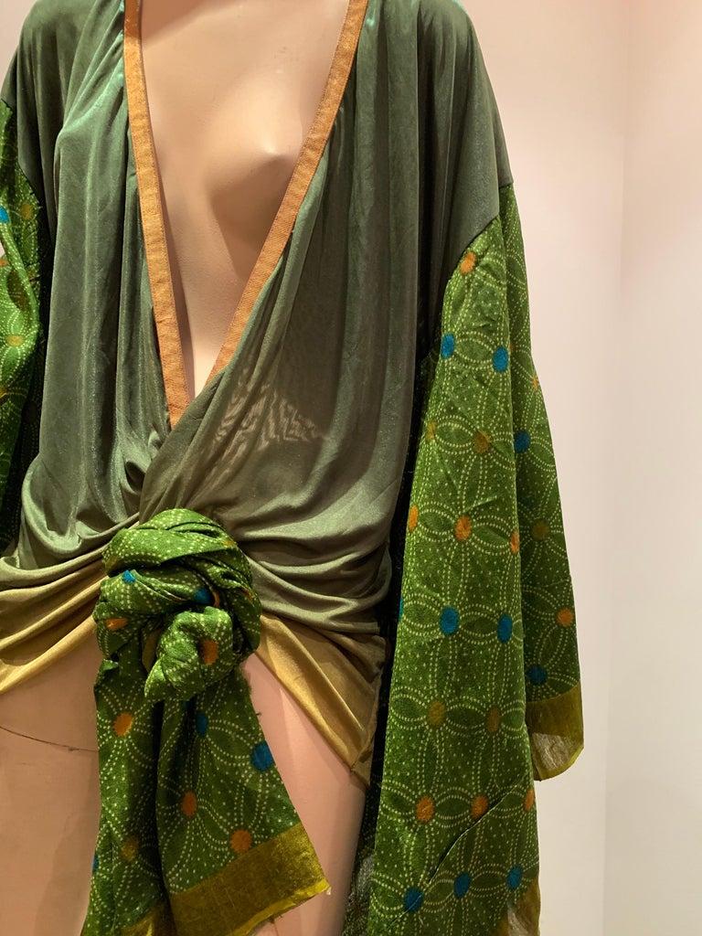 Torso Creations Moss Green Ombré Silk Jersey Mini Robe W/ Voluminous Silk Sleeve For Sale 10