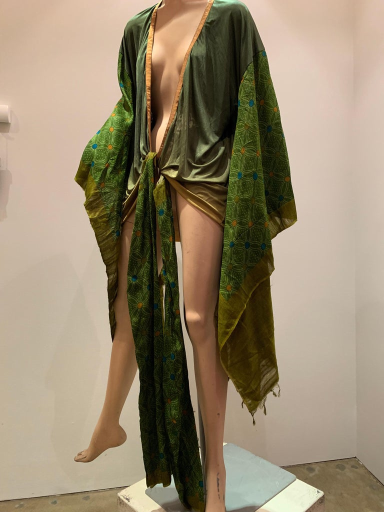 Torso Creations Moss Green Ombré Silk Jersey Mini Robe W/ Voluminous Silk Sleeve For Sale 11