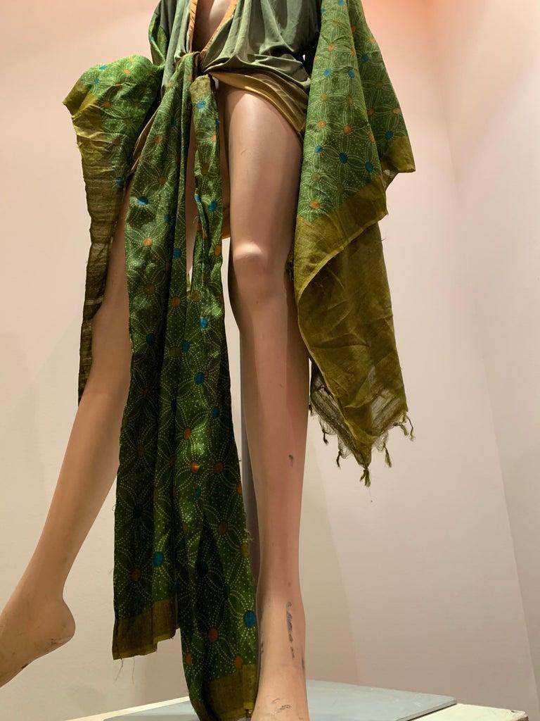 Torso Creations Moss Green Ombré Silk Jersey Mini Robe W/ Voluminous Silk Sleeve For Sale 12