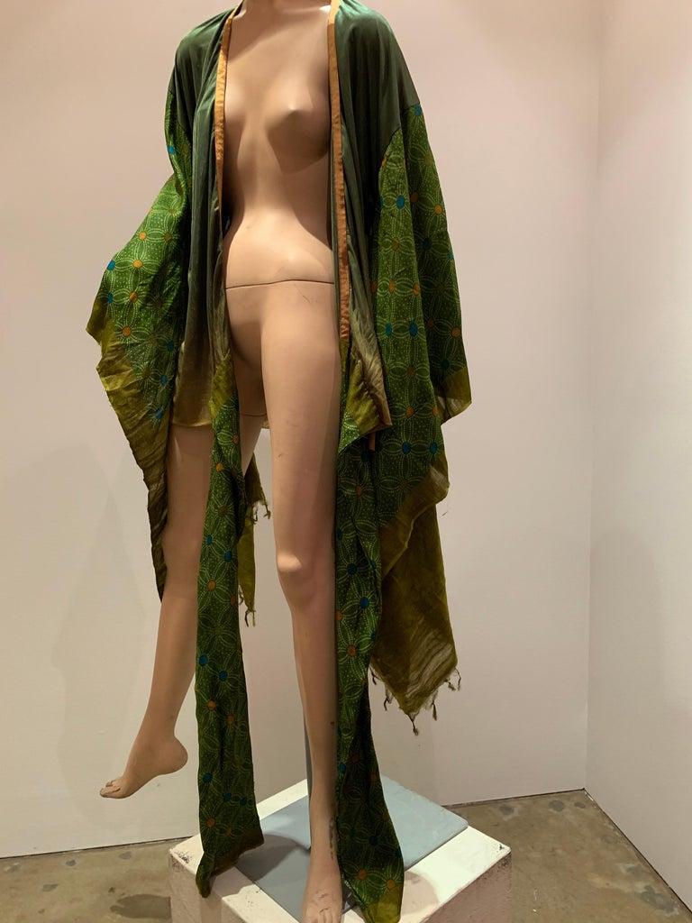 Torso Creations Moss Green Ombré Silk Jersey Mini Robe W/ Voluminous Silk Sleeve For Sale 13