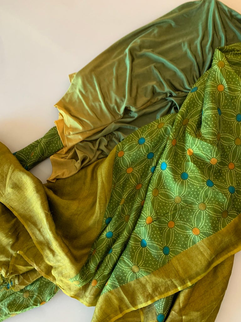 Torso Creations Moss Green Ombré Silk Jersey Mini Robe W/ Voluminous Silk Sleeve For Sale 15