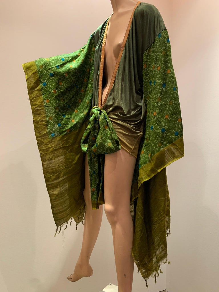 Torso Creations Custom Made Moss Green Ombré Silk Jersey Mini Robe W/ Voluminous Silk Sleeves. Sleeves are fashioned of embroidered sari fabrics. Front has two long sashes that can wrap or tie in a center front bow.