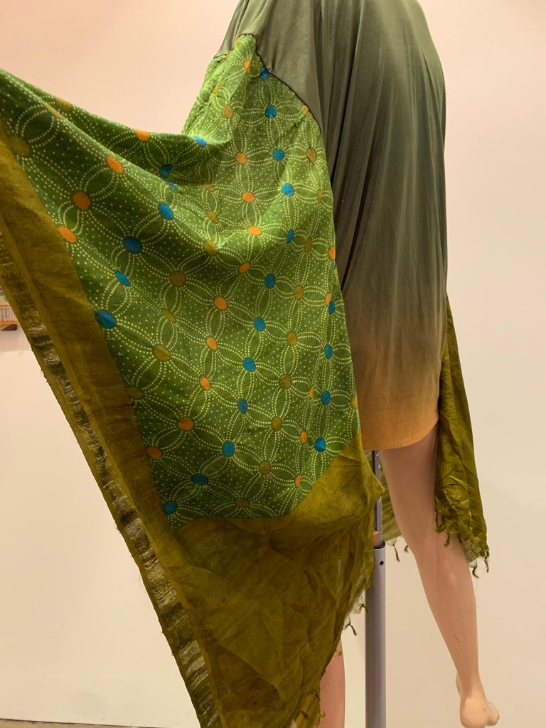 Torso Creations Moss Green Ombré Silk Jersey Mini Robe W/ Voluminous Silk Sleeve In Excellent Condition For Sale In San Francisco, CA