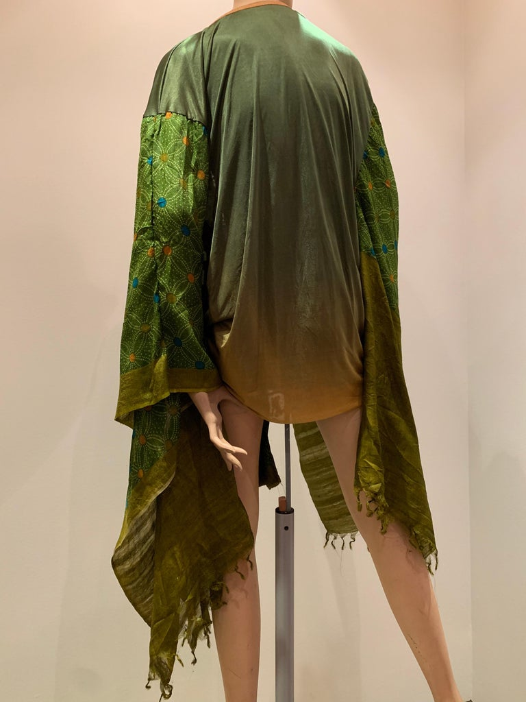 Women's or Men's Torso Creations Moss Green Ombré Silk Jersey Mini Robe W/ Voluminous Silk Sleeve For Sale
