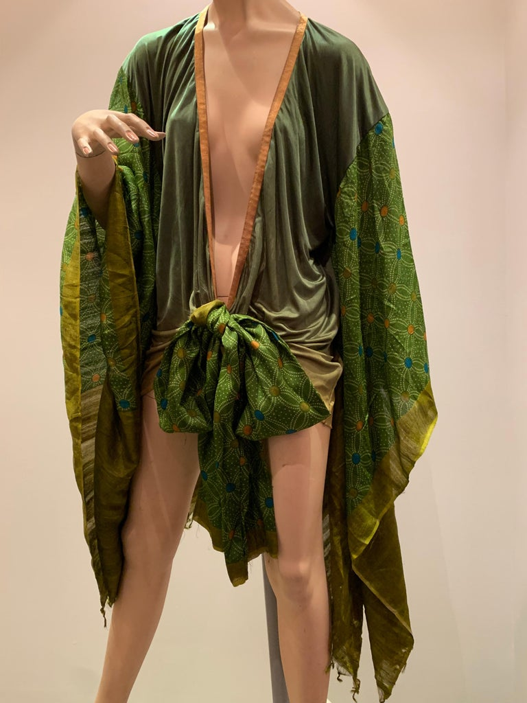 Torso Creations Moss Green Ombré Silk Jersey Mini Robe W/ Voluminous Silk Sleeve For Sale 1
