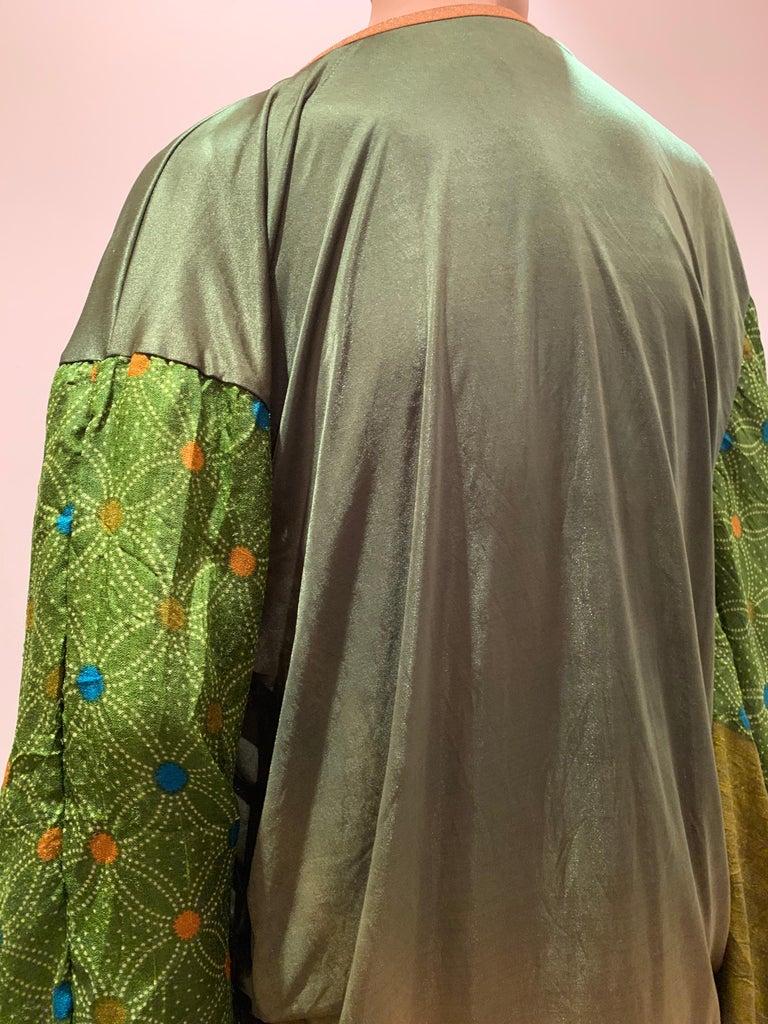 Torso Creations Moss Green Ombré Silk Jersey Mini Robe W/ Voluminous Silk Sleeve For Sale 2