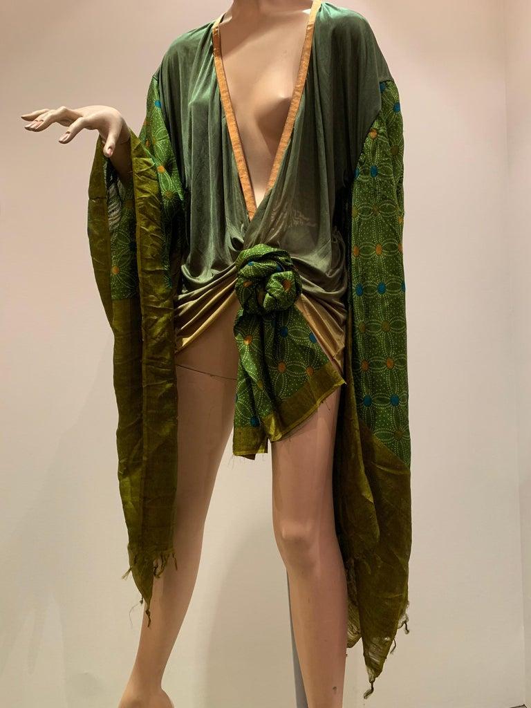Torso Creations Moss Green Ombré Silk Jersey Mini Robe W/ Voluminous Silk Sleeve For Sale 3