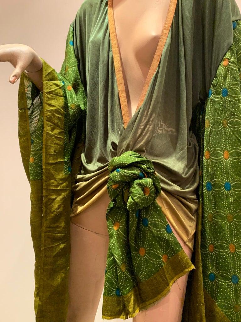 Torso Creations Moss Green Ombré Silk Jersey Mini Robe W/ Voluminous Silk Sleeve For Sale 4