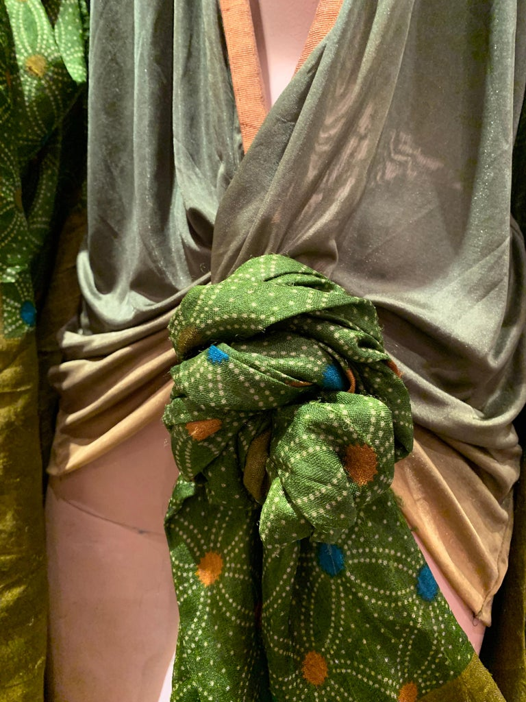 Torso Creations Moss Green Ombré Silk Jersey Mini Robe W/ Voluminous Silk Sleeve For Sale 5